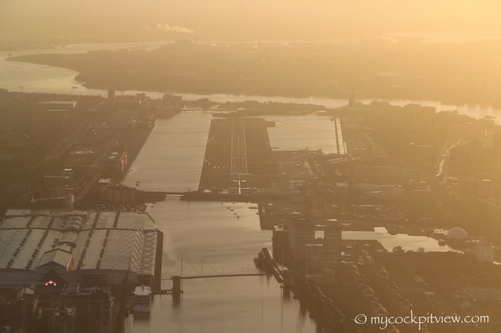 The final at London City Airport is always fantastic. On runway 09 facing the sun in the hazy morning or on runway 27 on a clear day with the smog clearly visible. Always different... Mycockpitview. EGLC. LCY.