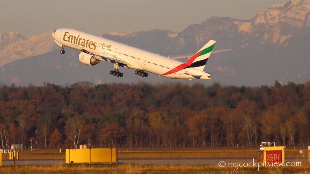 Mycockpitview. Emirates Boeing 777-300ER taking off out of Milano Malpensa (MXP) inbound to New York JFK.