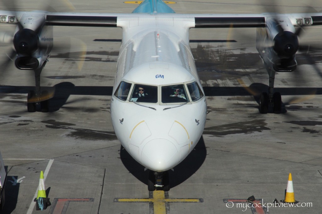Luxair Bombardier Dash8 Q400 arriving at the gate, Dublin Airport.