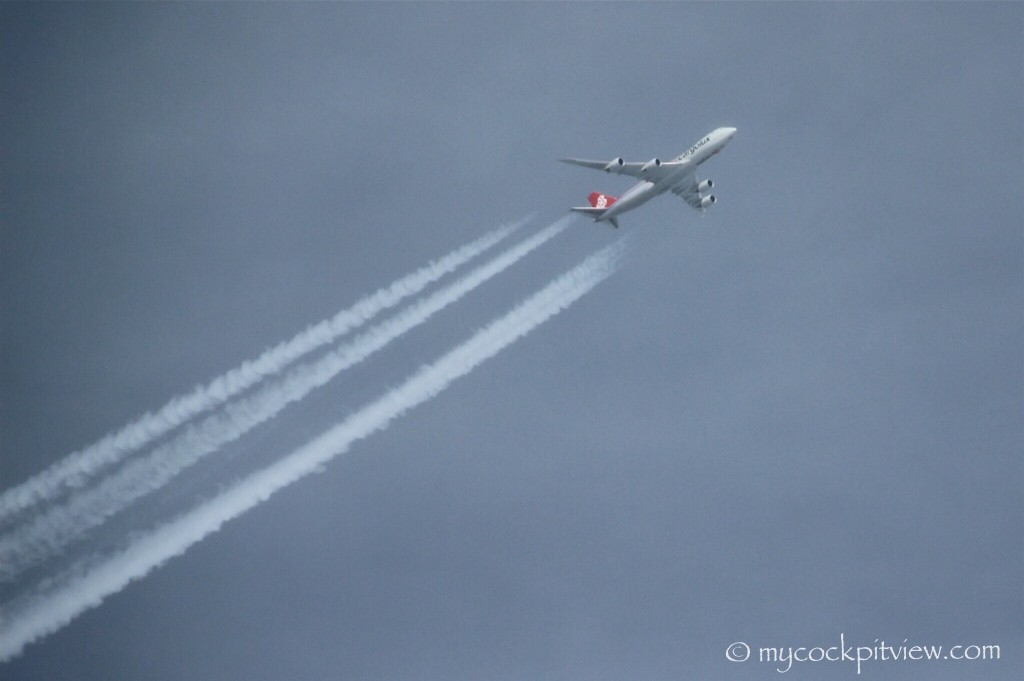 Mycockpitview. Cargolux Boeing 747 cruising above us.