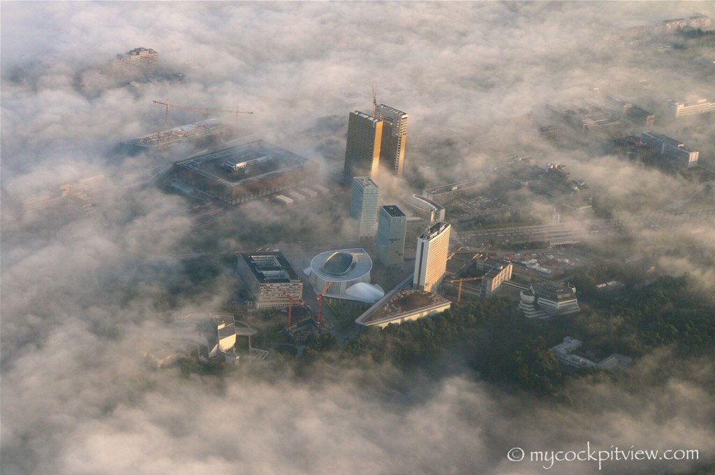 Incredible view on Kirchberg on a foggy spring morning. Mycockpitview.