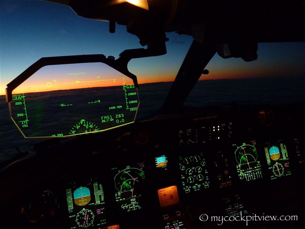 Luxair Bombardier Dash 8 Q400 cockpit at dusk. HGS. Mycockpitview.
