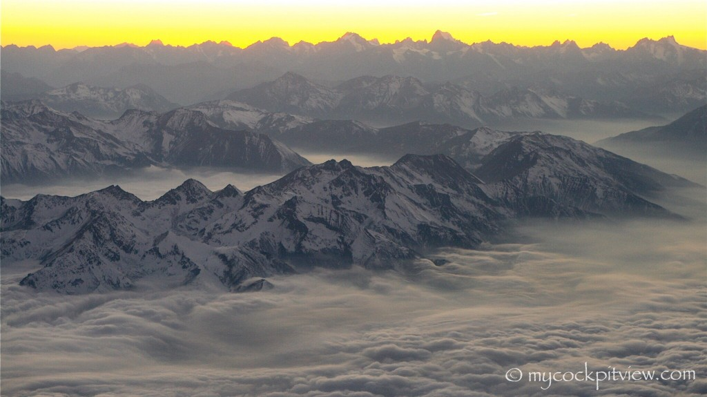 One of my best mountain shot, shortly after take off from Torino. Mycockpitview.