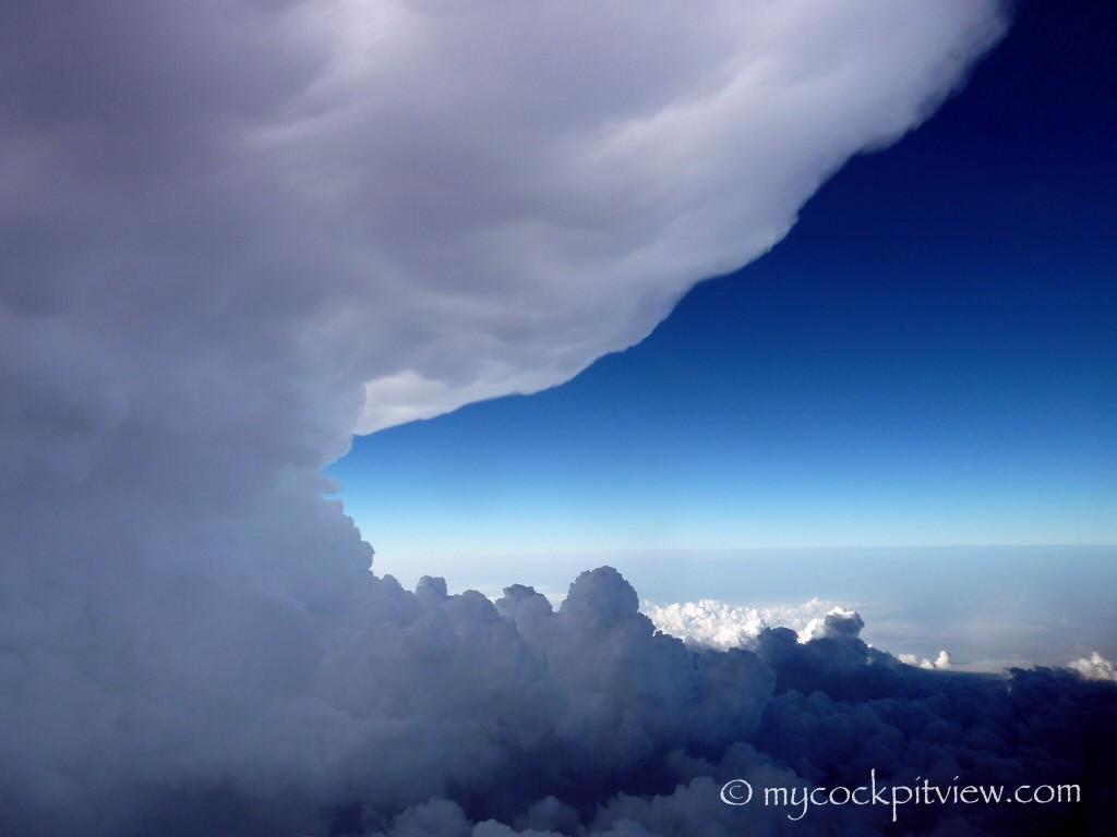 Mycockpitview. Huge cumulonimbus cloud on our way to Milano.