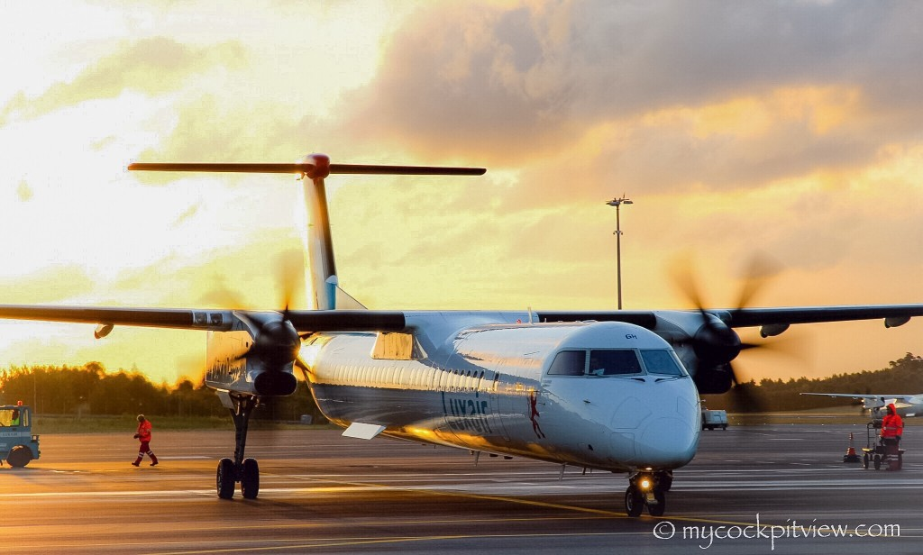 Mycockpitview. Luxair Bombardier Dash 8 Q400 ready for taxi out of Luxembourg