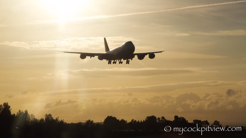 Cargolux Boeing 747-8 shortly before it's landing in Luxembourg. Mycockpitview