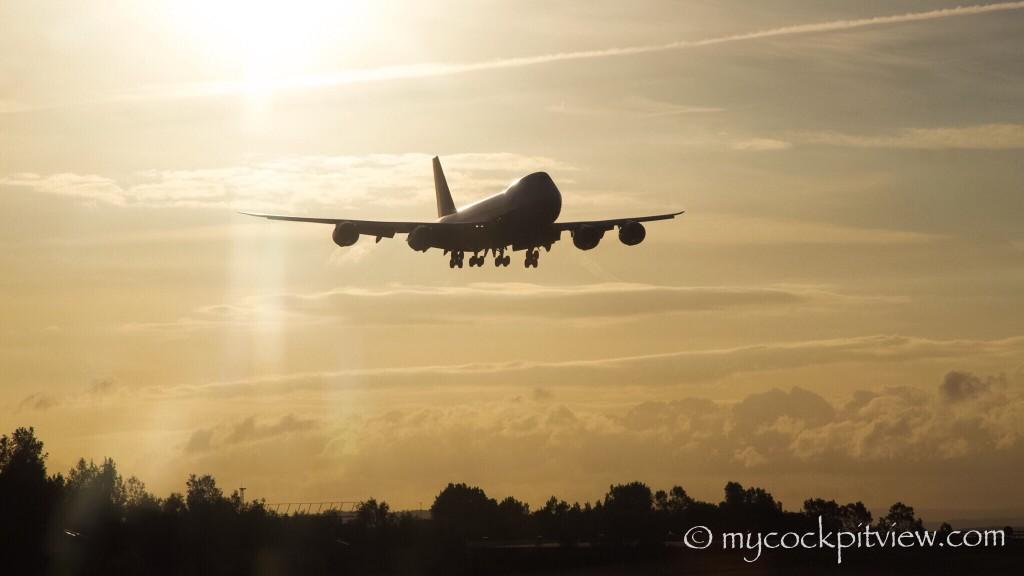 Cargolux Boeing 747-8 shortly before it's landing in Luxembourg. Mycockpitview