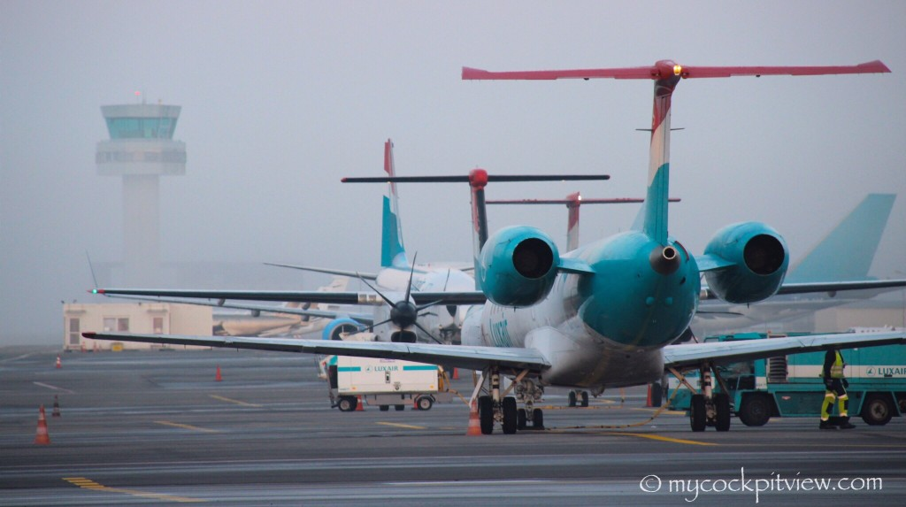 Embraer 145, Bombardier Dash 8 Q400 and Boeing 737, the three aircraft types composing the Luxair fleet