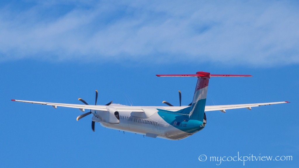 Luxair Bombardier Dash8 Q400 leaving London City