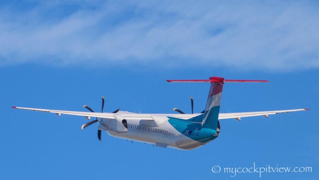 Luxair Bombardier Dash8 Q400 leaving London City