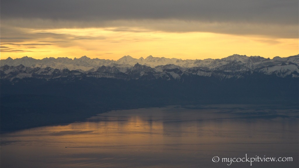 Descending towards Geneva on a morning flight, shortly before turning final runway 23 over the Lac Leman.