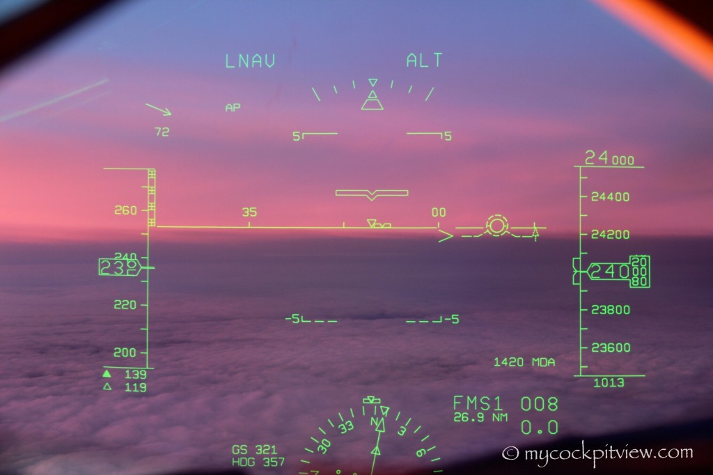 Sunset seen through the head up guidance system