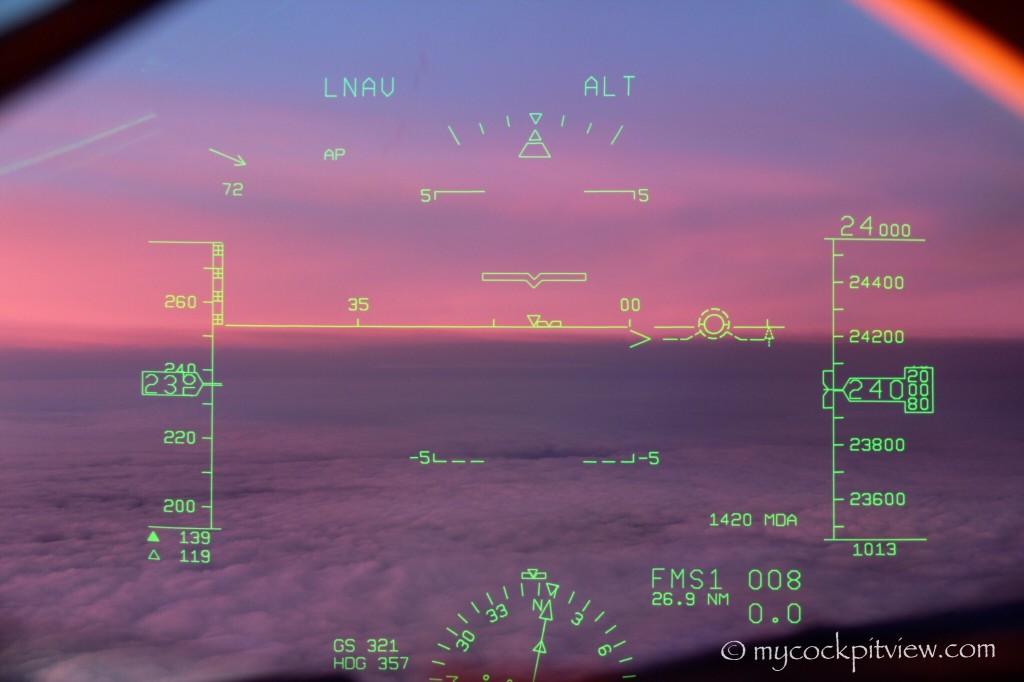 Sunset seen through the head up guidance system