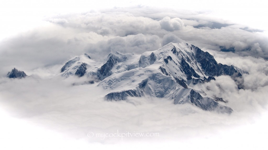 Mont blanc popping out of the clouds