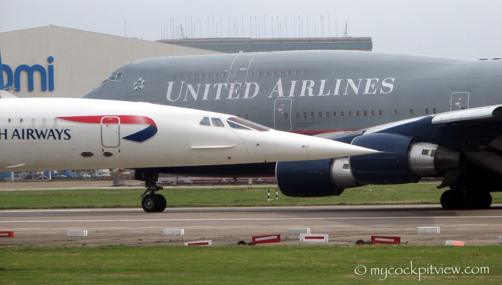 British Airways Concorde vs United Airlines Boeing 747, London Heathrow. EGLL. LHR. Mycockpitview