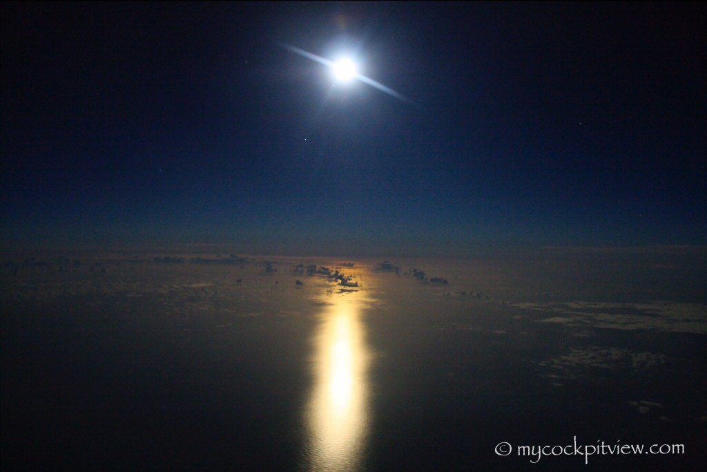 Full moon over the mediterranean sea. Mycockpitview