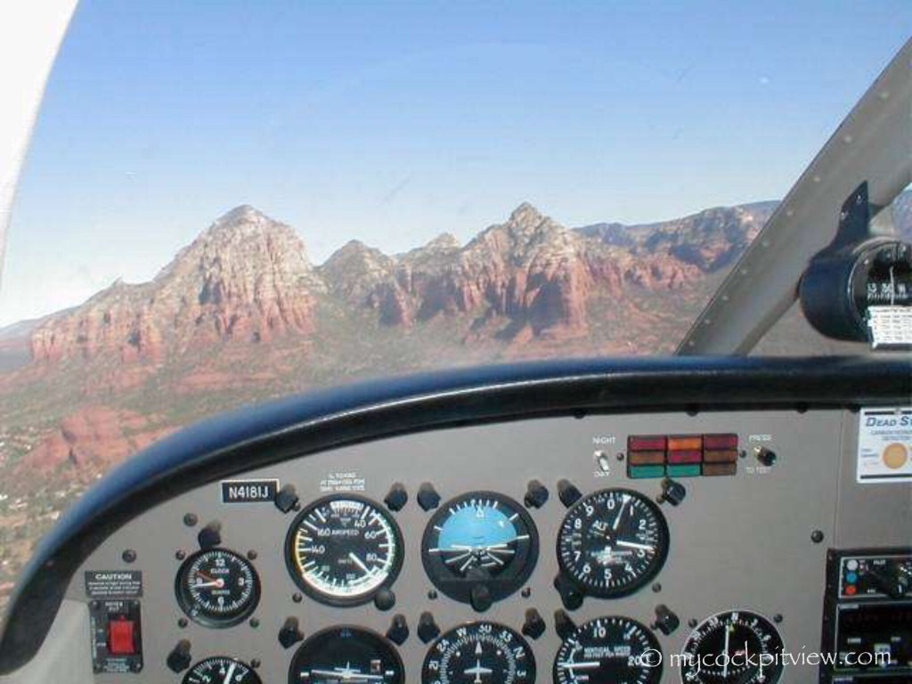 Overflying the beautiful city of Sedona, Arizona during my solo flight at the Sabena Airline Training Center. Mycockpitview