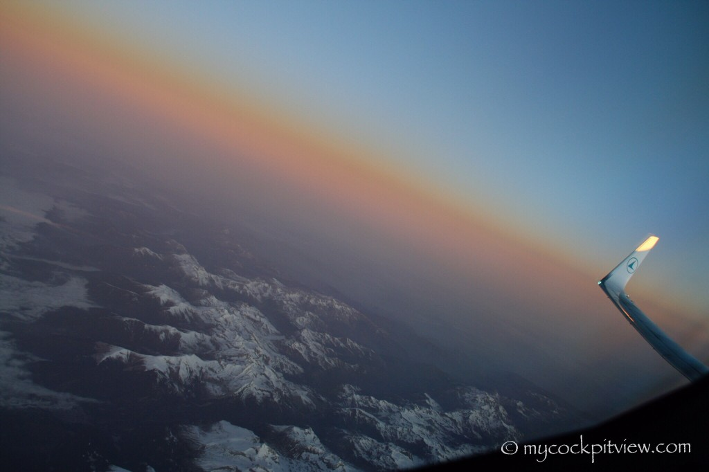 Sunset over the Alps, as seen from the Luxair Boeing 737-700 copilot's seat. Mycockpitview