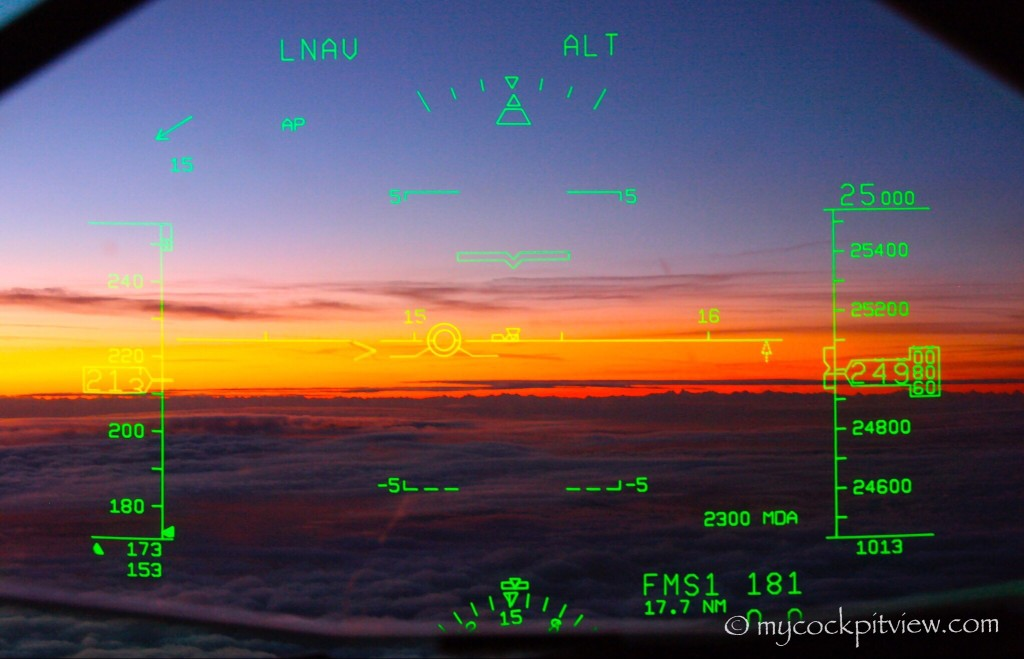 Sunset Through the head up guidance system. HGS. Mycockpitview.