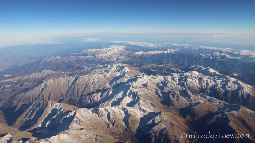 The Alps in autumn, first snow. Mycockpitview