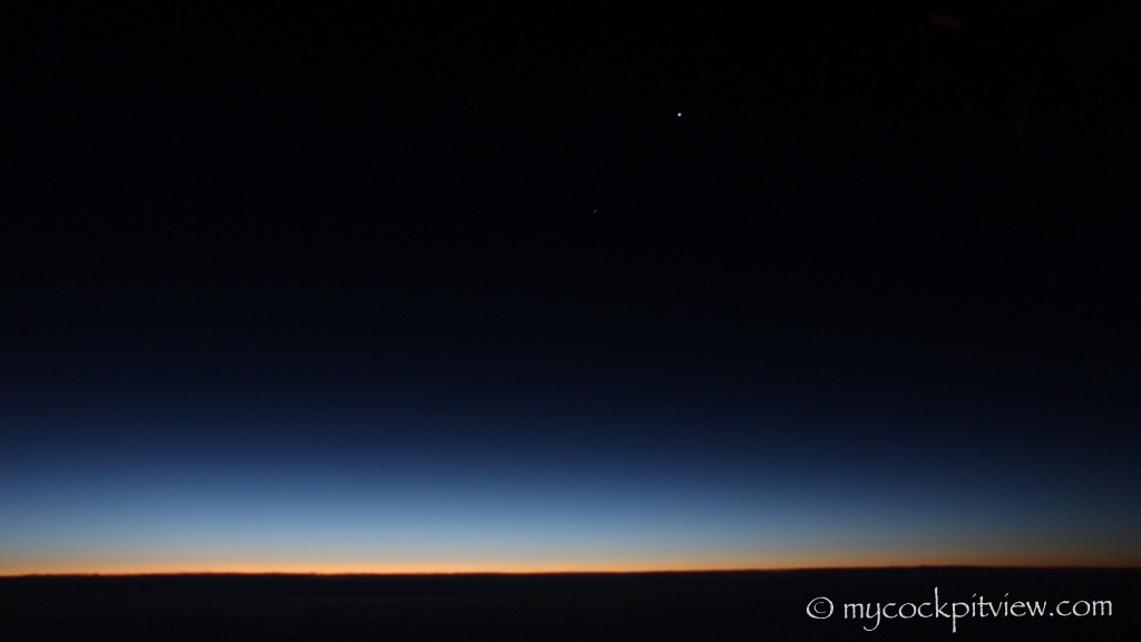 First rays of sun, planet Venus. Mycockpitview