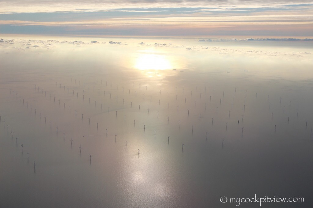 Windmill farm, english channel. Mycockpitview