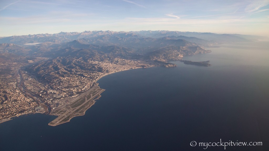 Dramatic view on Nice and on it's airport. Mycockpitview