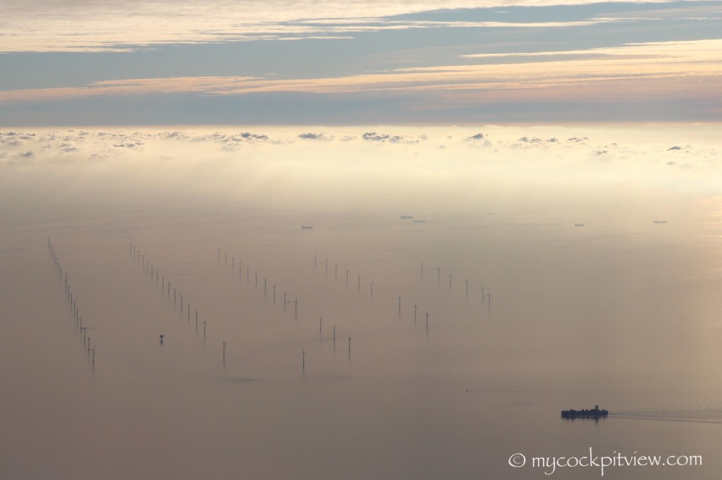Windmill farm in the North Sea. Mycockpitview