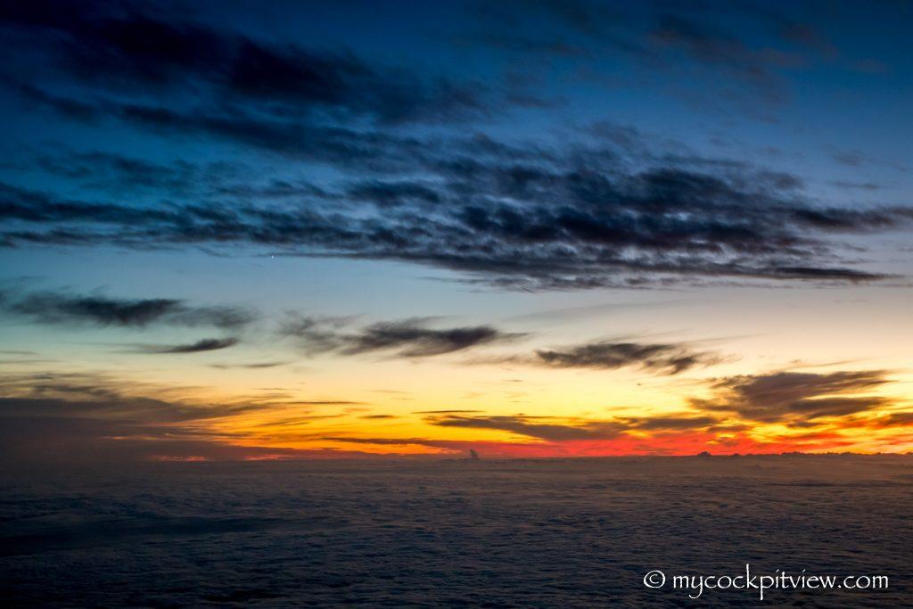 Sunset sunrise above the clouds. Mycockpitview