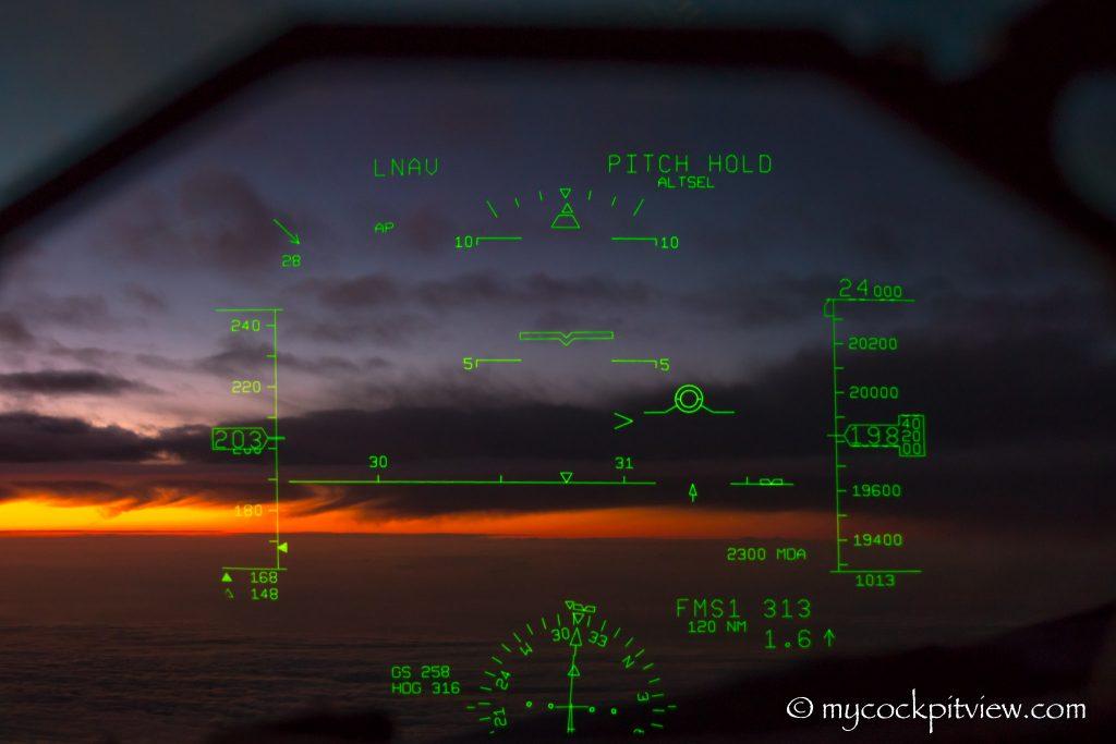 Sunset seen through the Head Up Guidance System. HGS. Mycockpitview