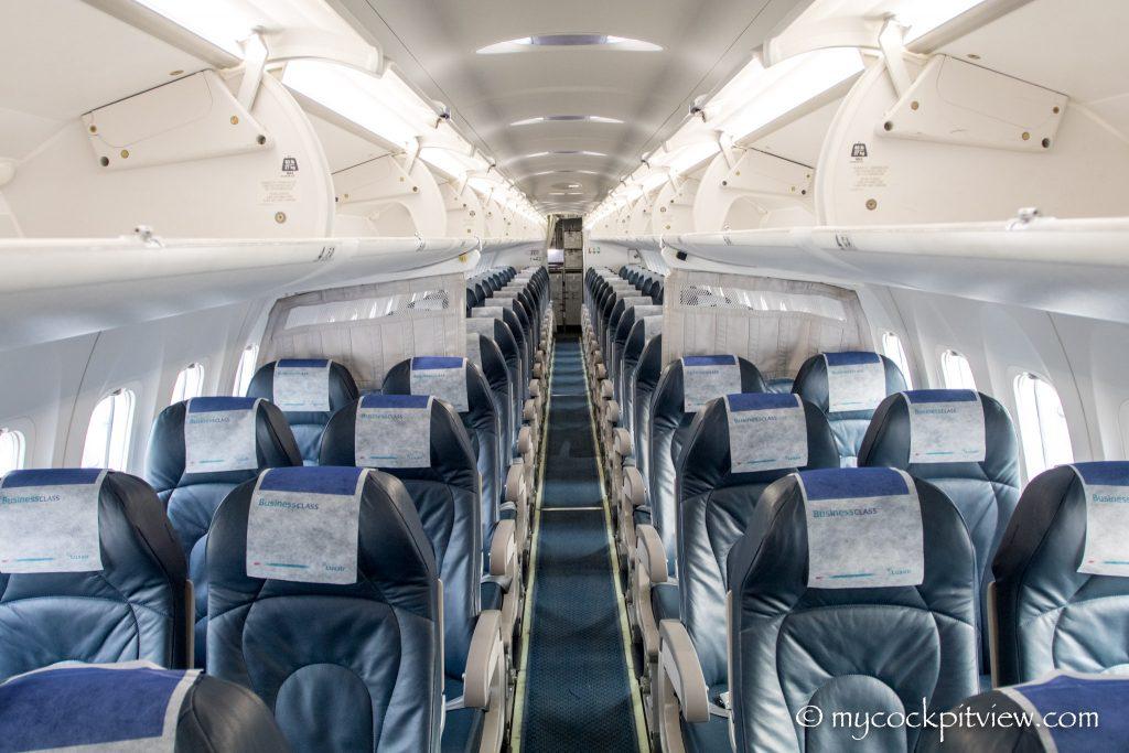 Luxair Bombardier Dash 8 Q400, passenger cabin. Mycockpitview