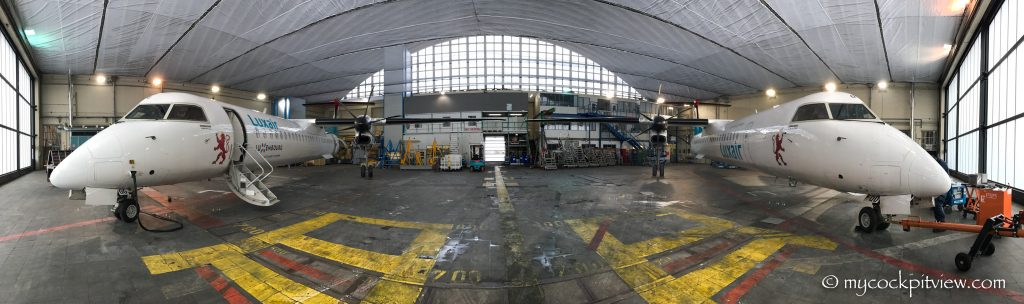 Luxair Luxembourg maintenance hangar Bomardier Q400, mycockpitview