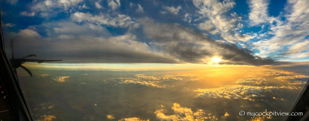 Stunning sunset while starting the approach in Paris