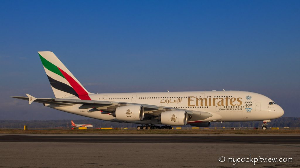 Emirates Aairbus A380, Milano Malpensa, Mycockpitview