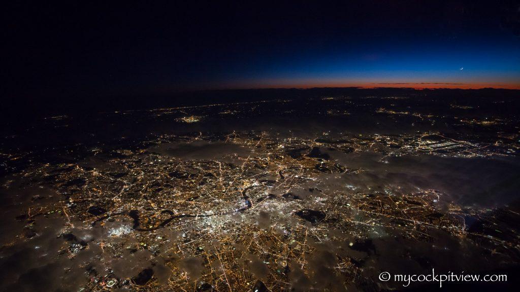 Sunset over London - Mycockpitview