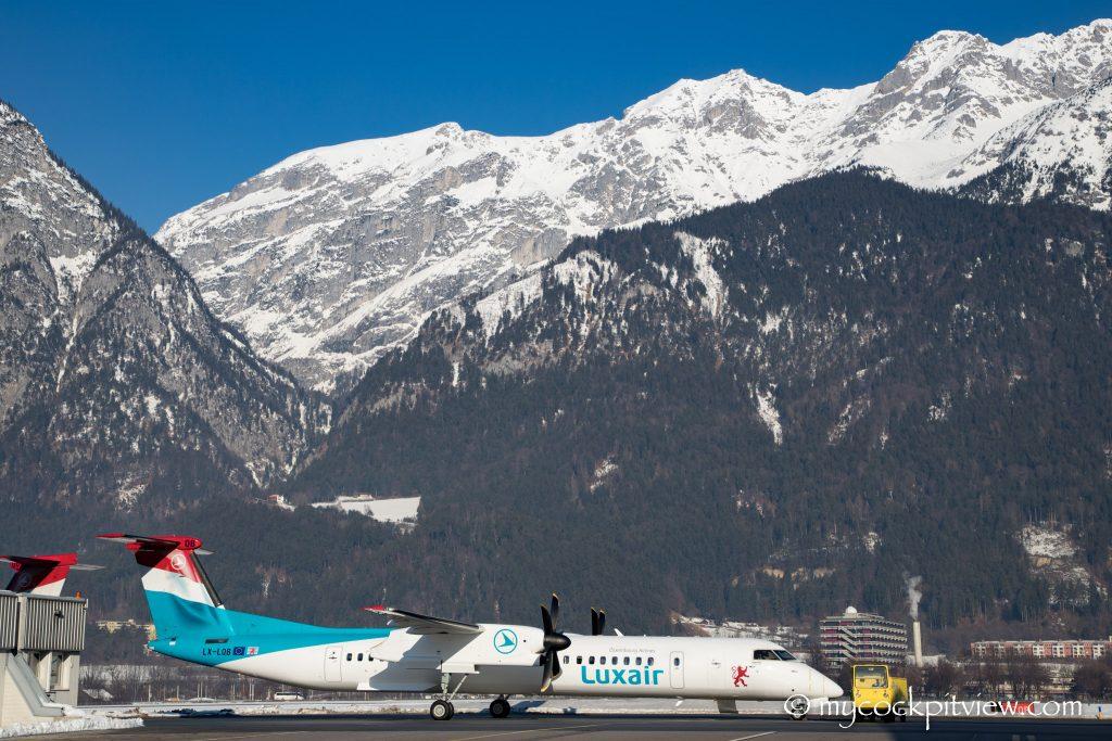 Luxair Bombardier Q400 in Innsbruck - mycockpitview