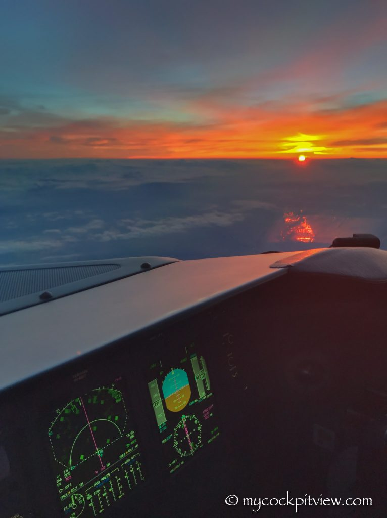 Copilot's view during sunset, mycockpitview