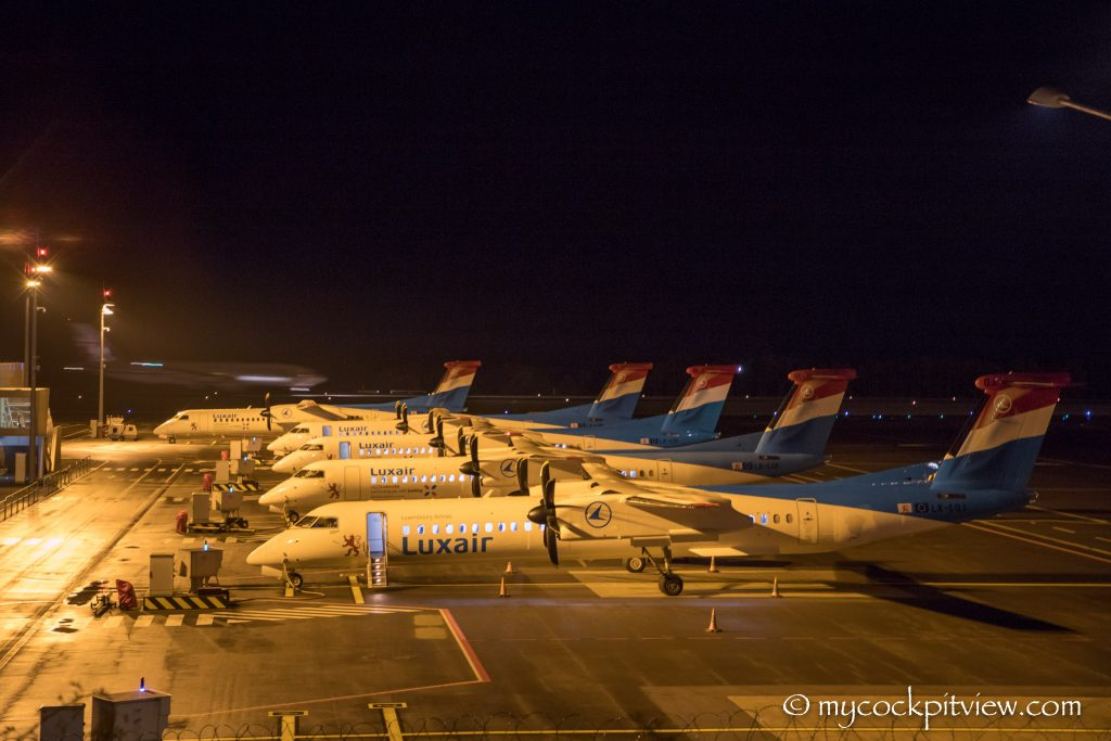 Luxair Bombardier Q400 - Luxembourg Terminal B - Mycockpitview